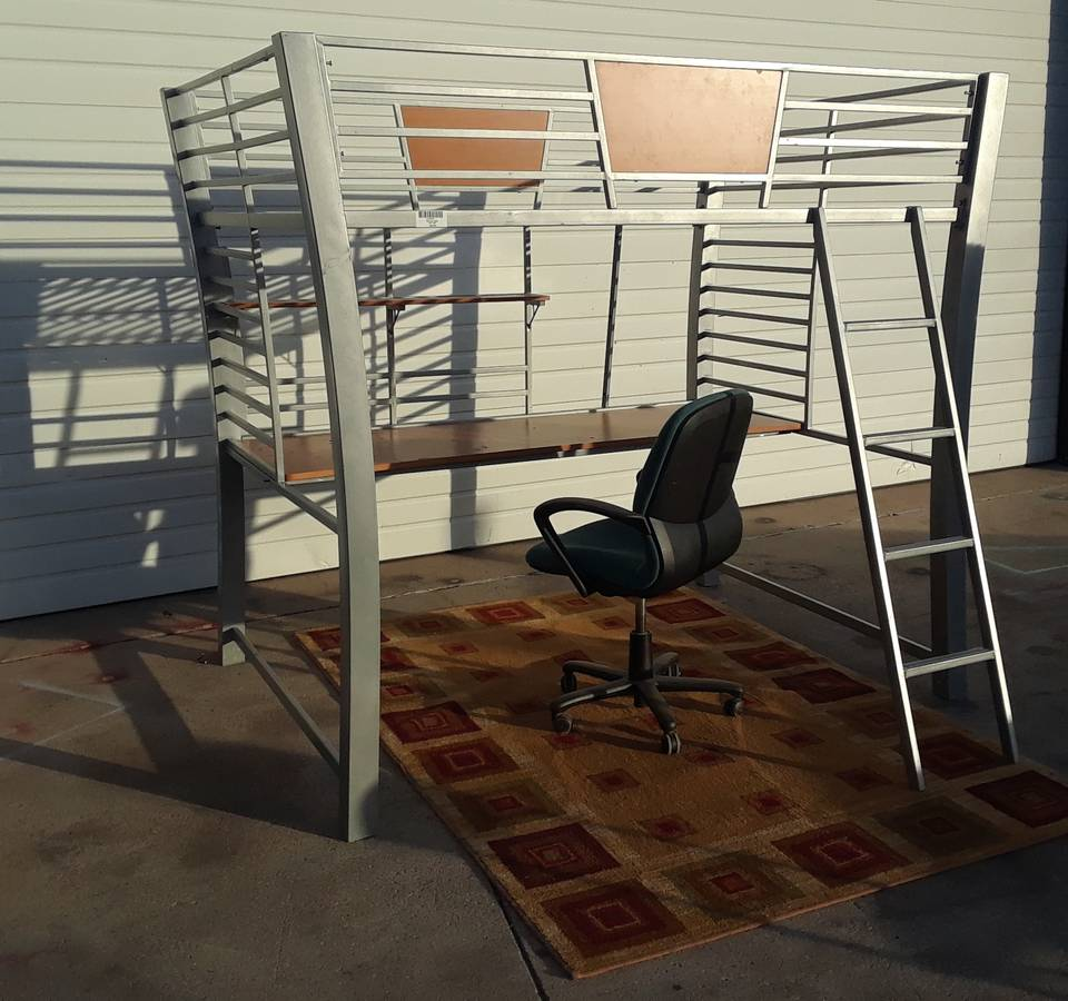 Metal Loft Bed with Desk, Chair, Shelves CHARCOAL GRAY