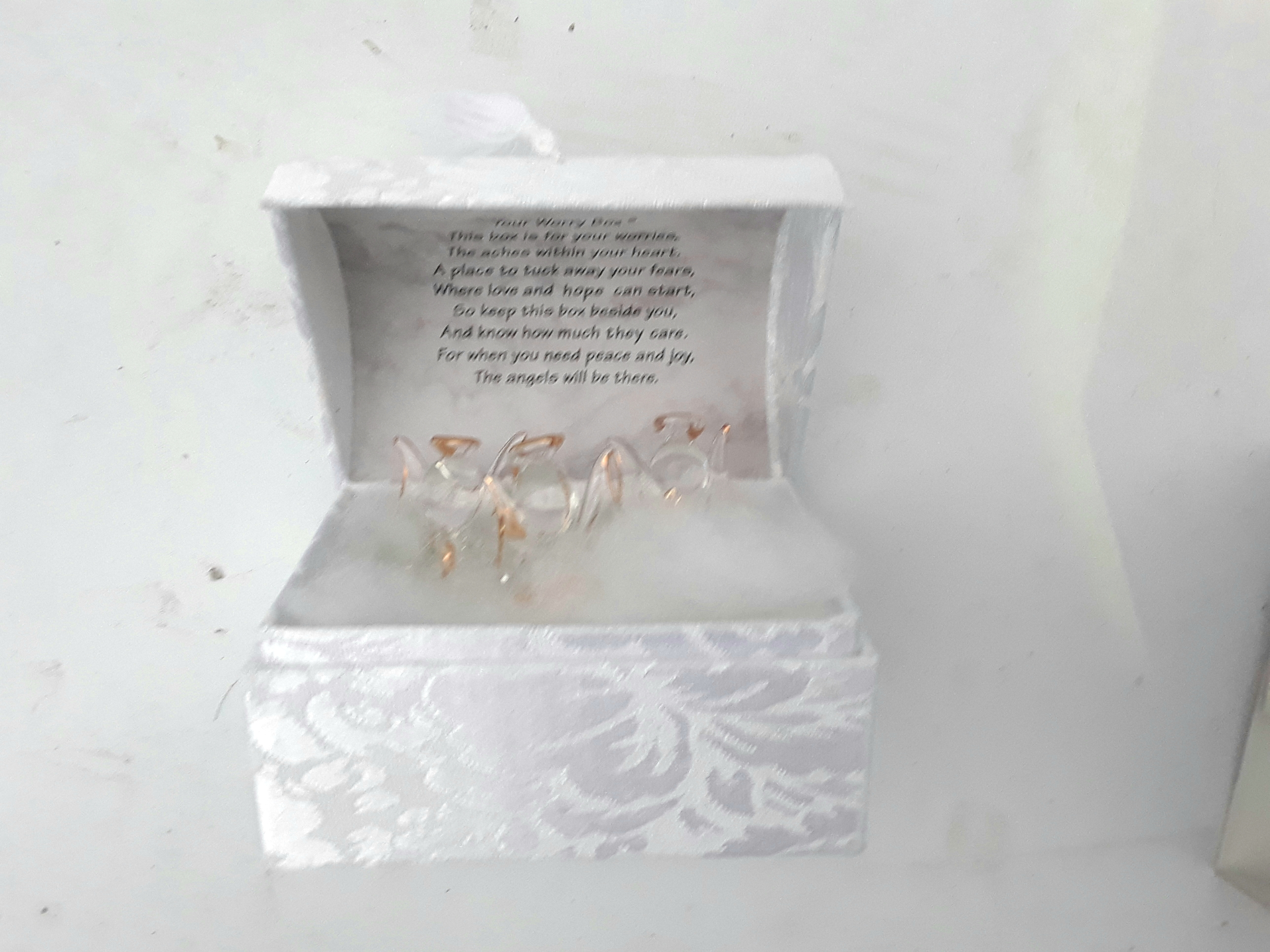 Worry Box Gift with 3 Crystal Angels