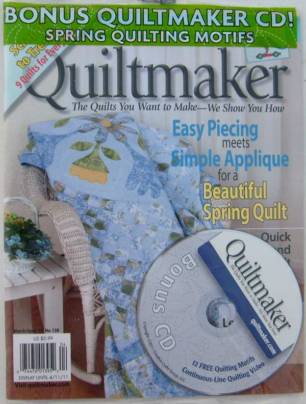 Quiltmaker Magazine March/April 2011 No. 138 with Bonus CD 12 Free Spring Quilting Motifs