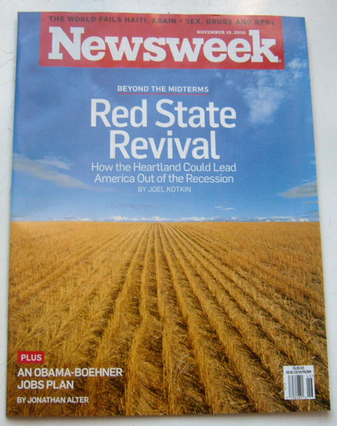 Newsweek Magazine November 15 2010 (The World Fails Haiti Again, Sex Drugs & RPGs, Red State Revival)