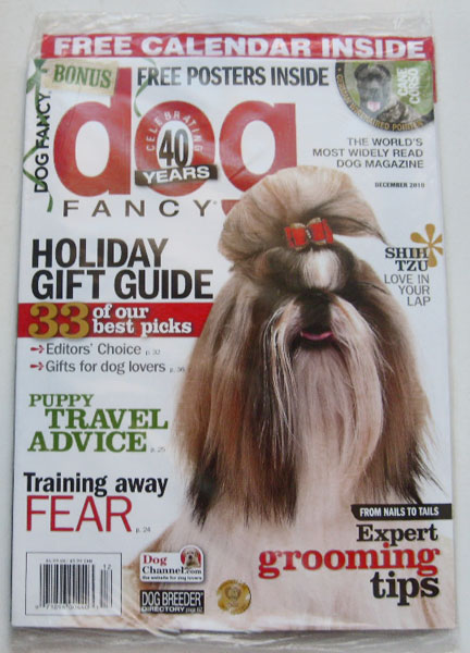 Dog Fancy Magazine December 2010 Volume 41 Number 12 with Free 2011 Dog Lovers Calendar (Shih Tsu Love in Your Lap, Expert Grooming Tips, Training Away Fear)