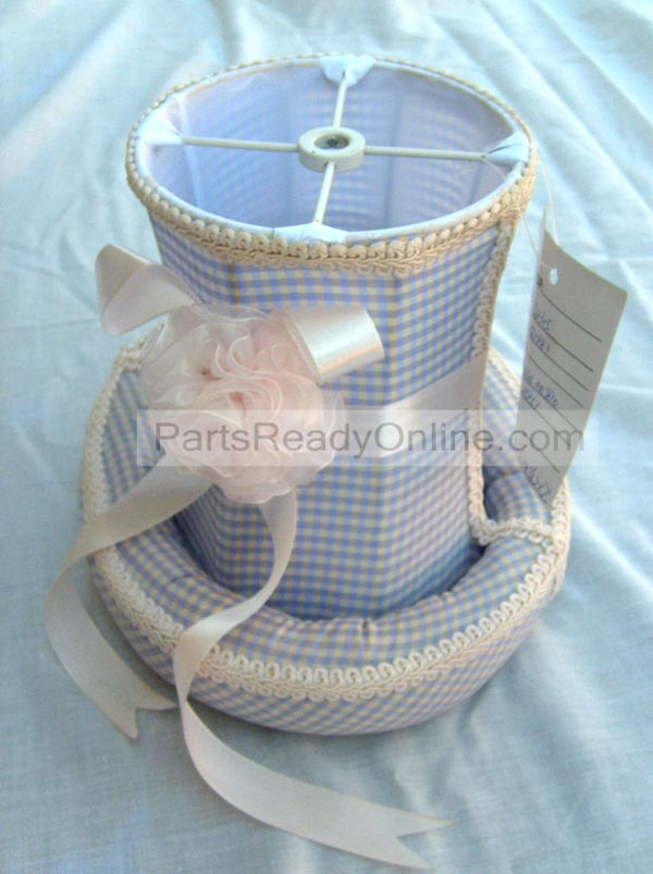 "Blue Checkered Lamp Shade with Bow and Trim Small Lampshade 7"" High"