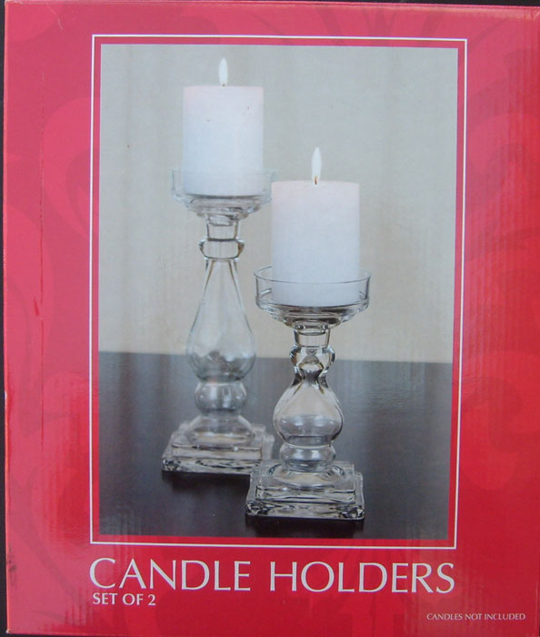 Two Candle Holders Set Clear Glass