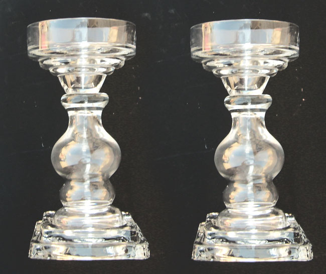 "Pair of 8"" Clear Glass Candle Holders"
