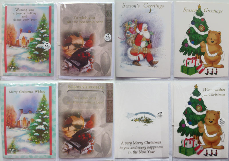 Ten Christmas Musical Cards with Envelops -Seasons Greetings, Merry Christmas, Christmas Wishes