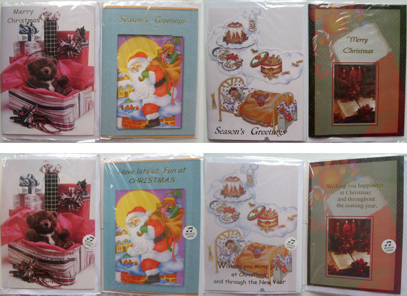 Merry Christmas and Happy New Year Greeting Cards -Pack of 10 MUSICAL Cards NEW