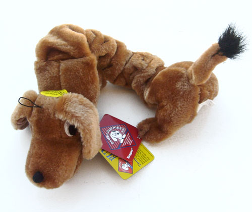 "OUT OF STOCK $7 Plush Puppies Bungee Dog Toy Wilbur the Wiener Dog 18"" L Squeak Strech Rattle Tug Chase Hug"