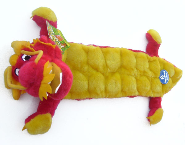 "OUT OF STOCK ToyShoppe Dog Toy with 16 Squeakers Squeaker Mat Body Dragon 29"" Long"