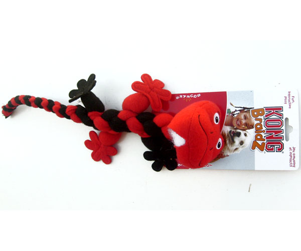 "Braided Dog Toy Squeaky Gecko by Kong Braidz 15"" Long"