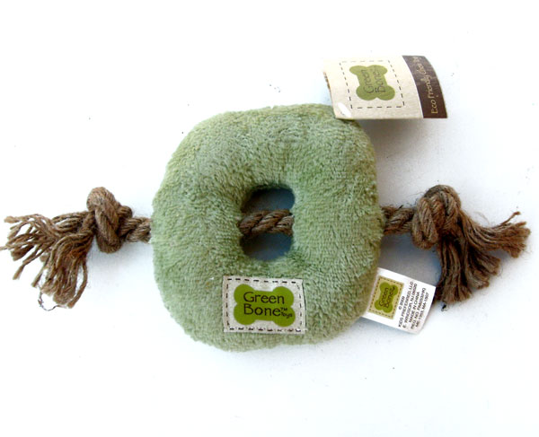 Green Bone Dog Toy with Stuffing Kids Preferred Eco Friendly Chew Toy