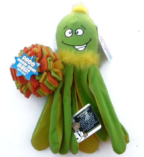 "Out of stock $10 Sea Monster Dog Toy Squeaky Squigglers with Fleecy Ball 13"" Long"