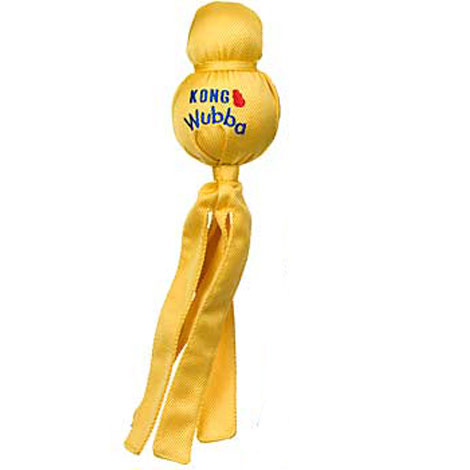 Kong Wubba Dog Toy Yellow Ball Floats on Water