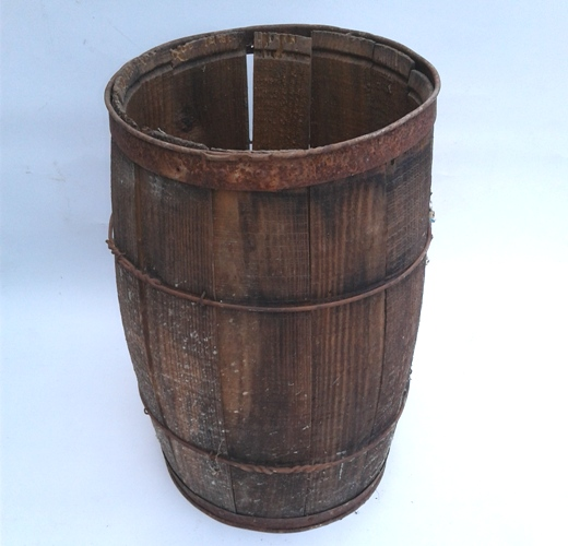 Rustic Antique Wooden Barrel 18Hx11W