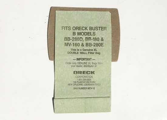 OUT OF STOCK $1.99 Oreck Bag B Models BB-280D BB-180 MV-160 BB-280E Hypo-Allergenic Filter System Bags for Compact Canisters XL Double Wall