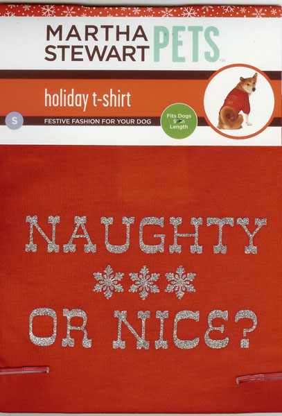 "Martha Stewart Pets Holiday T-shirt Naughty or Nice shirt for Dogs 9"" long"