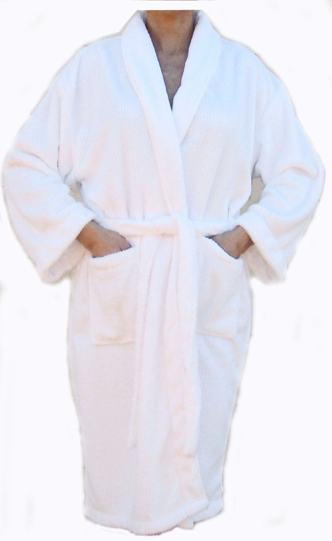 OUT OF STOCK Luxury Spa Robe in White Size LARGE X-LARGE (for Women & Men)