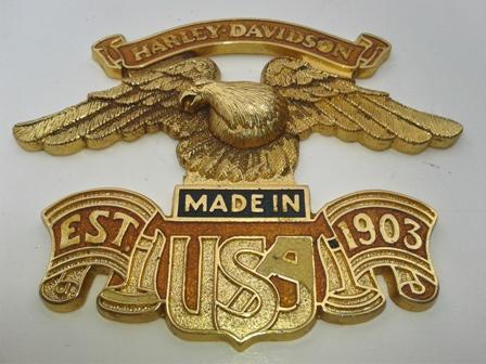 Ready To Use Vintage Harley Davidson Sissy Bar Brass /& Enamel Emblem USA Eagle