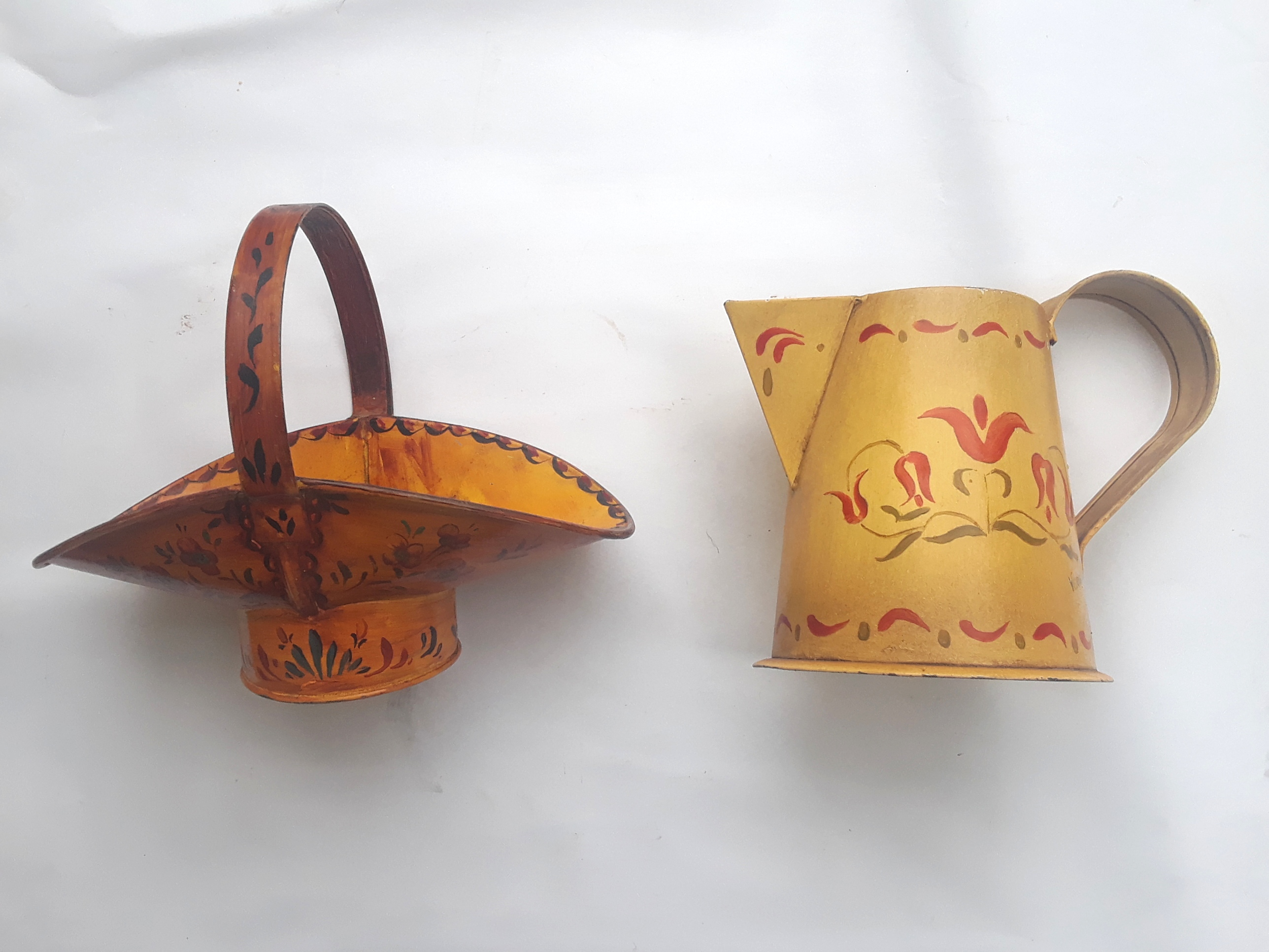 Hand Painted Mini Watering Can and Basket Gift Set