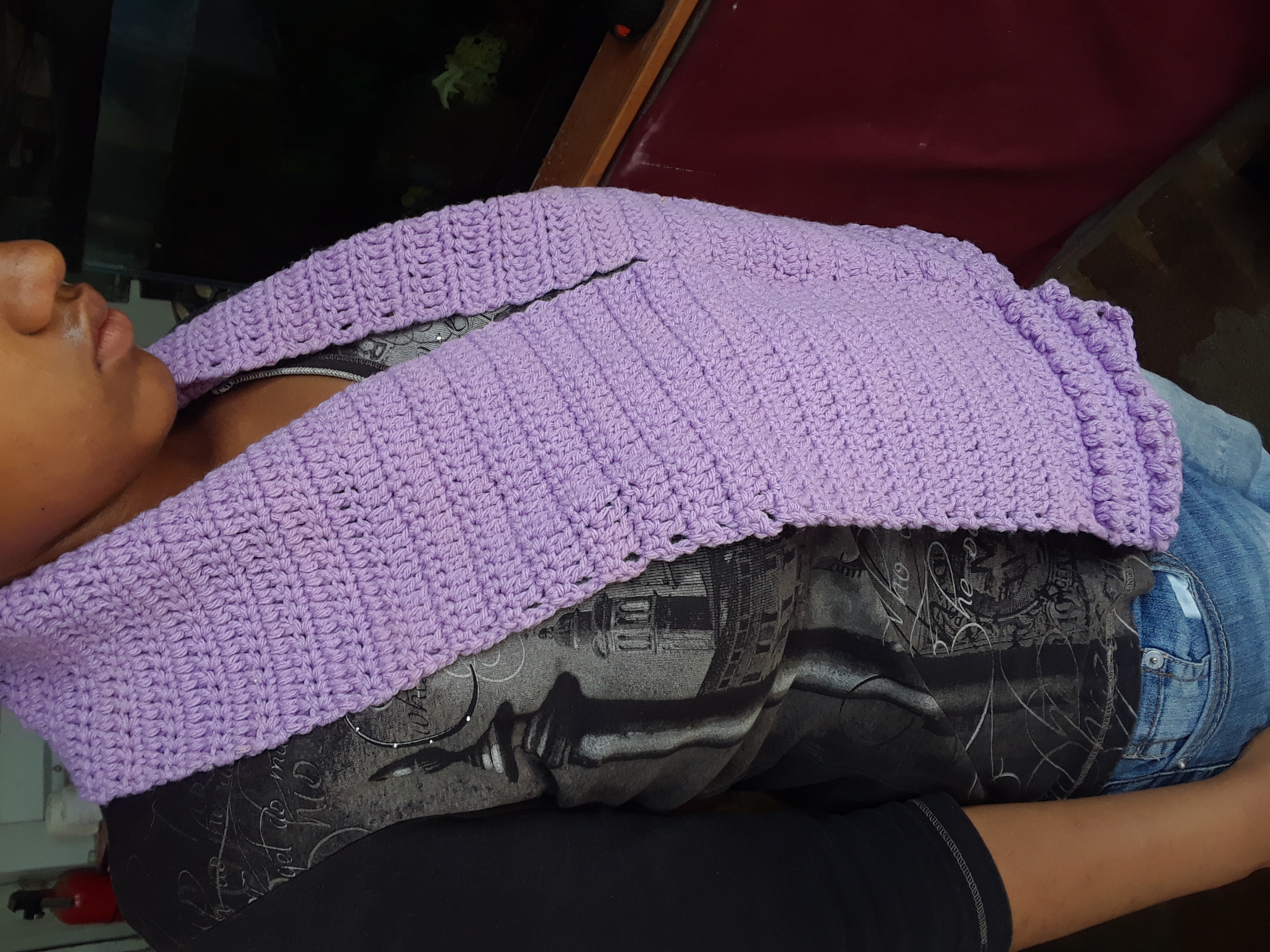 Handmade knitted scarf LILAC 58 inches long