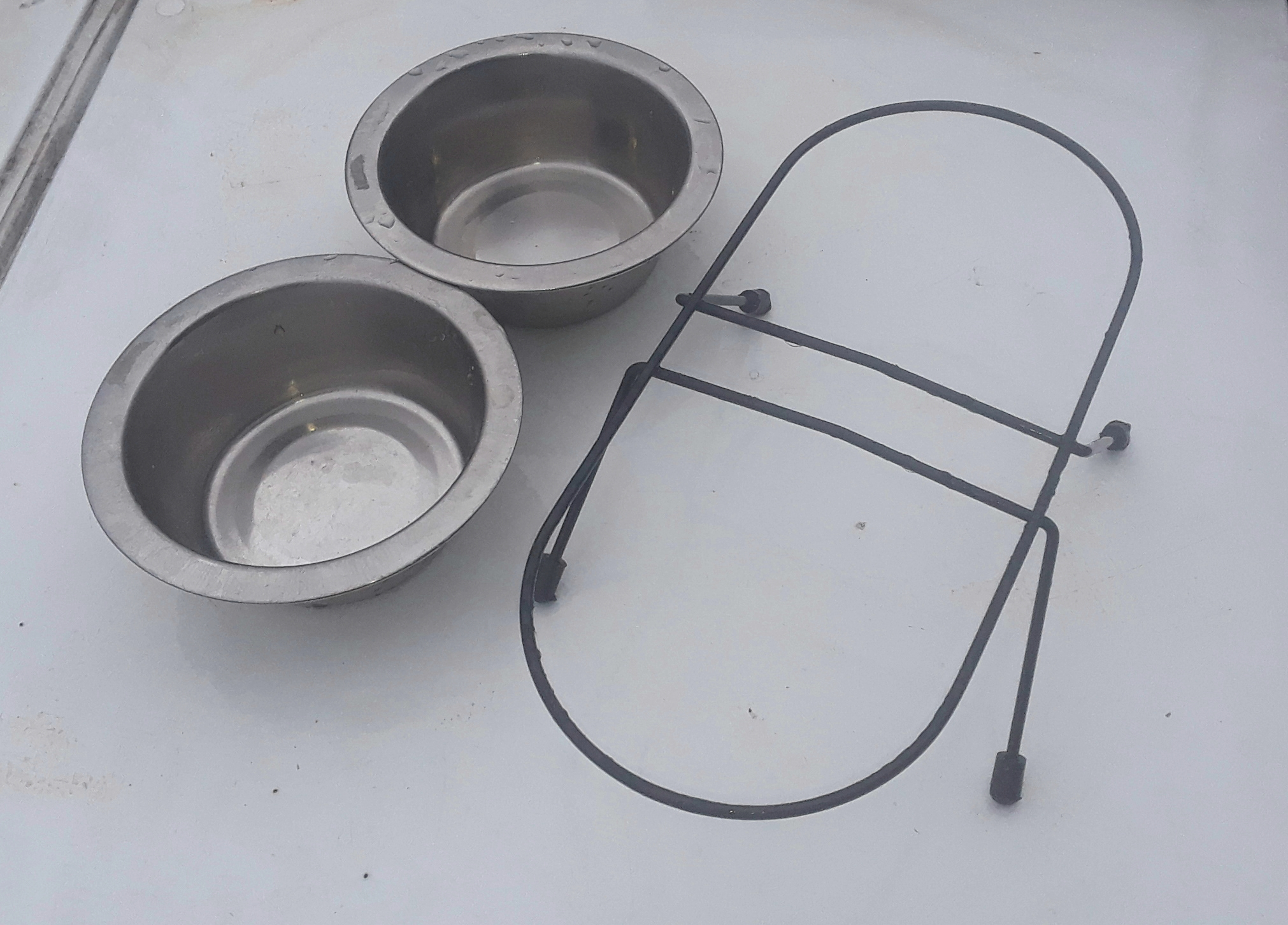Double Cat Bowls with Stand stainless