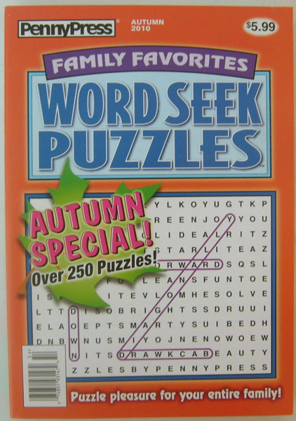 Family Favorites Word Seek Puzzles PennyPress Over 250 Puzzles (Autumn 2010)