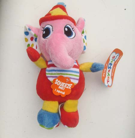 Plush Circus Elephant Doggy Puppy Toy Squeaks ToysRus Pets