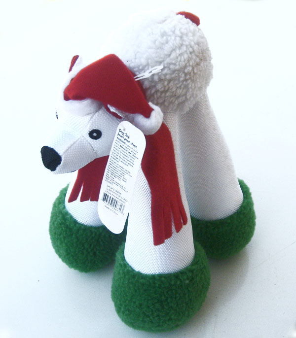 Dog Toy Doggie Long Legs Polar Bear in Santa Hat (Pet Holiday Products)