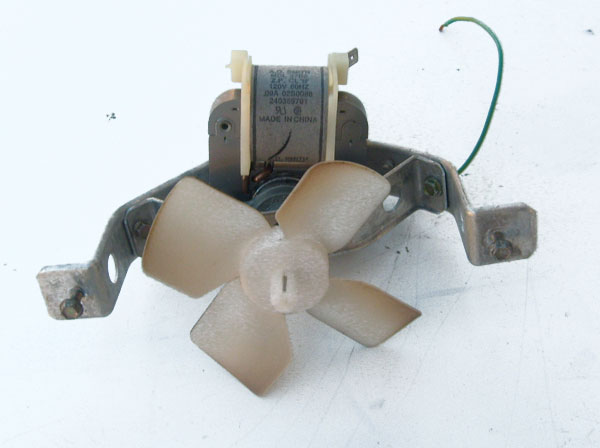 Kenmore Refrigerator Evaporator Fan Assembly with Motor 240369701, Blade 5308000010 and Motor Brackets 5303292396 5303292397