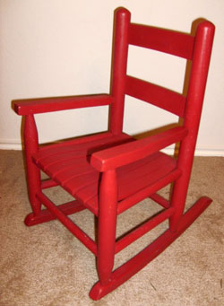 Toddler Red Wood Rocking Chair